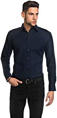 Manga-Larga 100/% algod/ón Cuello Kent Vincenzo Boretti Camisa de Hombre Lisa no Necesita Plancha Regular-fit Corte Ajuste Recto