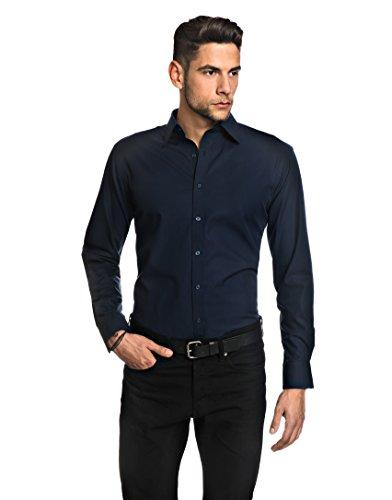 Embraer Herren-Hemd Slim-Fit tailliert bügelfrei 100% Baumwolle Uni-Farben - Männer lang-arm Hemden für Anzug Krawatte Business Hochzeit Freizeit oder unter Pullover dunkelblau 41-42