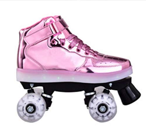 Geteah Unisex In- und Outdoor Rollschuhe PU Leder High-top Rollschuhe Vierrad Rollschuhe Glänzend Rollschuhe für Jungen und Mädchen (Rosa ohne Blitzrad, 7)