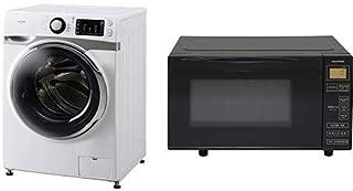 【セット販売】アイリスオーヤマ ドラム式洗濯機 7.5kg 温水洗浄機能付き 左開き 幅595mm 奥行672mm 2019年モデル HD71 & 電子レンジ 18L フラットテーブル ヘルツフリー 全国対応 ブラック IMB-FV1801 セット