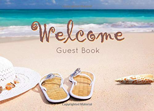 Guest Book for Vacation Home, Beach Edition: 8.25 x 6 inch size Guest Log Book for Vacation Rental, Airbnb, VRBO and more