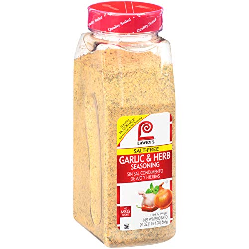 Lawry's Garlic & Herb Seasoning, 20 oz - One 20 Ounce Container of Garlic and Herb Seasoning Blend of Garlic, Rosemary, Basil, and Citrus Perfect for Seafood, Beef, and Poultry