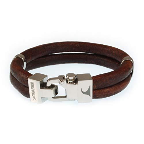 WAVEPIRATE® Echt Leder-Armband Turn R Braun 23 cm Edelstahl-Verschluss in Geschenk-Box Surfer Herrenarmband Männer