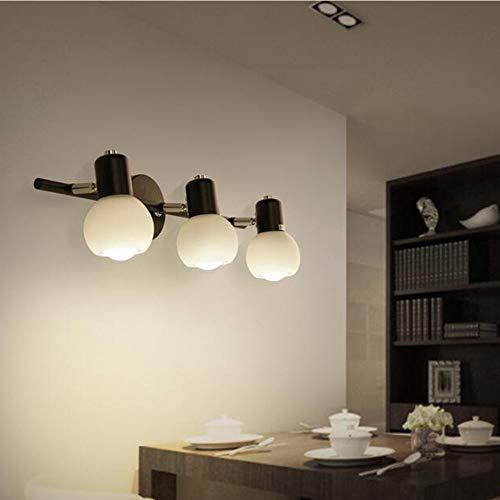 GBX Lámpara casera Espejo retrovisor Luz delantera Pared de baño Aparador simple Luz Cristal Sombra (luz cálida),3 cabezas,Con 7 led