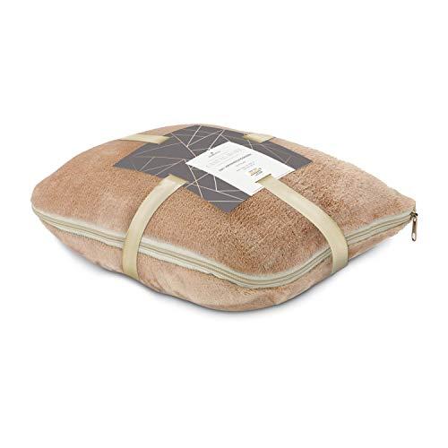 Römer Wellness 2in1 Verwandlungskissen, Kissen und Decke in Einem, Karamell, Ideal für die nächste Reise, 30 x 38 x 15 cm