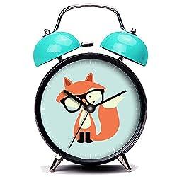 GIRLSIGHT3 Blue Alarm Clock, Cute Cute Hipster Red Fox Loud Alarm Clock Twin Bell Alarm Clocks with Nightlight