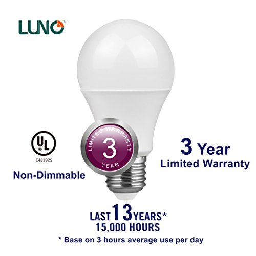 LUNO A19 Non-Dimmable LED Bulb, 6.0W (40W Equivalent), 450 Lumens, 4000K (Neutral White), Medium Base (E26), UL Certified (10-Pack)