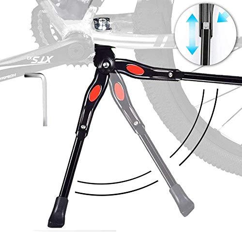 """Cavalletto Bici - Cavalletto Bicicletta Stand Regolabile Alta qualità Alluminio Lega Cavalletto laterale con Il Piedino di Gomma Antiscivolo 24""""-28"""" Mountain Bike, Bici da Strada, MTB Bici (Nero1)"""