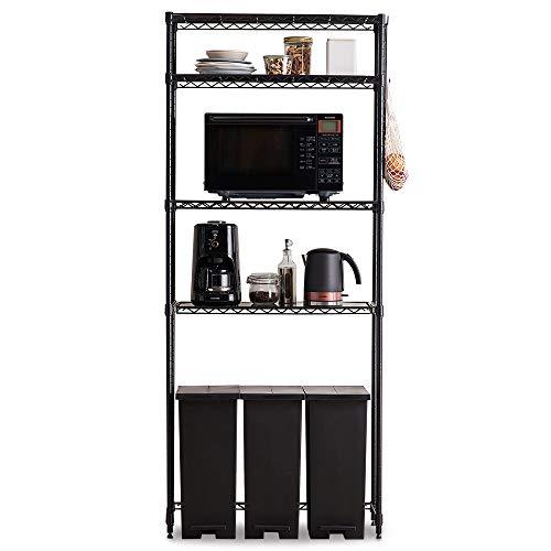 アイリスオーヤマ レンジ台 冷蔵庫ラック 幅75×奥行35×高さ180cm ハイタイプ 耐荷重100kg キッチンラック メタルラック ゴミ箱上ラック 組立品 スチール製 CMM-PRH7518 ブラック