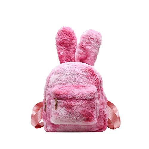 TENDYCOCO süßer Hase Plüsch Rucksack bunte Aufbewahrungstasche für Mädchen Damen entzückende Hasenohr Schulrucksack Reisetasche (pink)