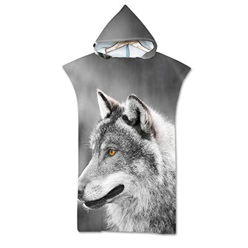 Wolf gedrukt badcape, wearable badhanddoek volwassene, microfiber strandlaken, Robe handdoek Poncho Blanket, sjaal badhanddoek voor Surf & Beach,C