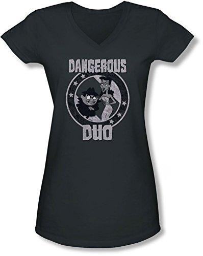 Rocky & Bullwinkle - Junge Frauen Gefährliche V-Ausschnitt T-Shirt, XX-Large, Charcoal