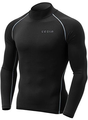 TSLA Men's Thermal Wintergear Compression Baselayer Mock Long Sleeve Shirt, Thermal Mock Neck(yut32) - Black & Light Grey, Medium