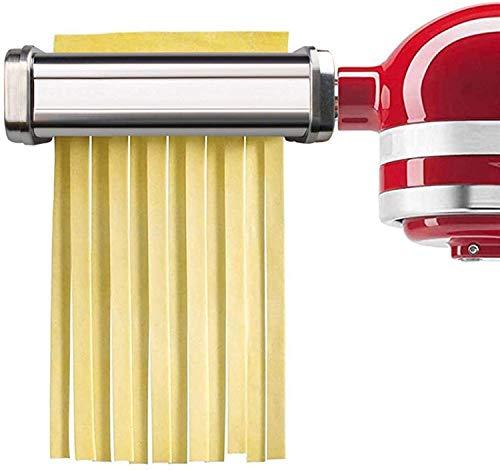 Pasta Roller Edelstahl Röhrennudelaufsatz, Lasagne Pasta Schneidaufsatz, 3 Metall Optionales Zubehör, Für KitchenAid Nudelvorsatz Küchenmaschine,Dicke Klinge