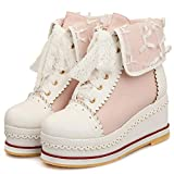 CYNLLIO Women's Kawaii Cosplay Lolita Shoes Cute Lace up Brogues Shoes Fashion Platform Sneakers Ankle Booties Pink