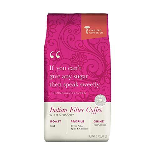 Civilized Coffee Indian Filter Coffee with Chicory Ground Coffee Medium Dark Roast (12oz bag)