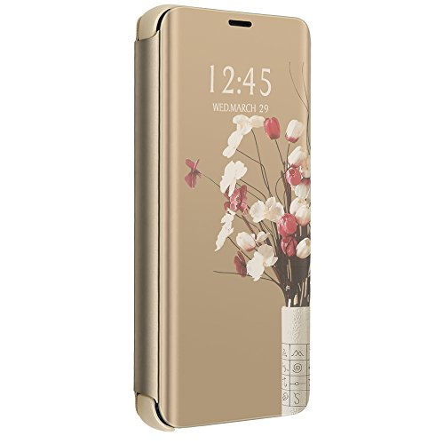 Compatible for iPhone 6 Plus Case, iPhone 6s Plus Mirror Case Electroplate Plating Case Magnetic Flip (iPhone 6 Plus/6s Plus, Gold)