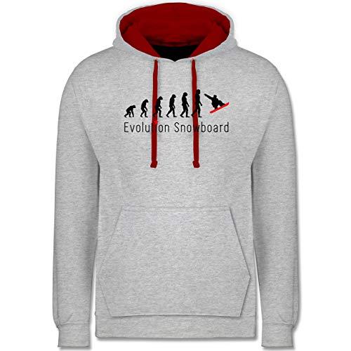 Shirtracer Evolution - Evolution Snowboard Sprung - XS - Grau meliert/Rot - Snowboard Hoodie - JH003 - Hoodie zweifarbig und Kapuzenpullover für Herren und Damen