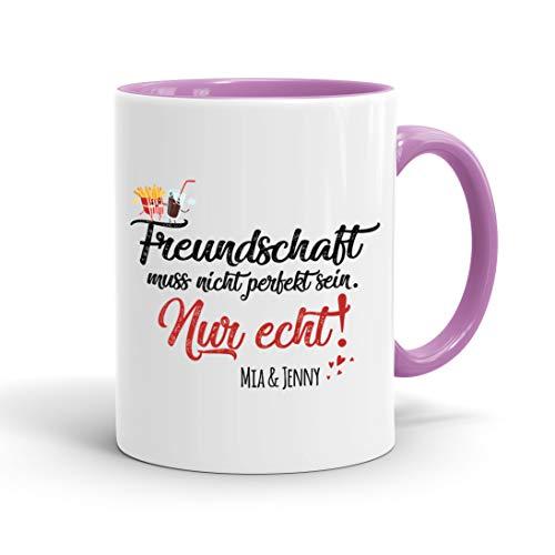 True Statements Tasse Freundschaft muss nicht perfekt sein nur echt Wunsch Name - personalisierte Kaffeetasse mit Wunsch-Name - spülmaschinenfest - tolles Geschenk zu Weihnachten, Rand/Griff rosa