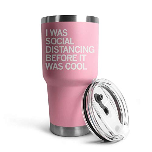 HappyWomen I was Social Distancing Before It was Cool Coronavirus Stainless Steel Tumbler Bulk in-car,30 OZ Vacuum Insulated Coffee Tea Car Cup with Anti-Spill Lid and Straw,Fathers Gift