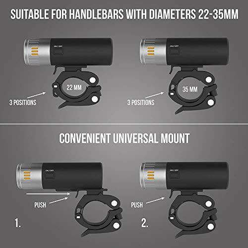 toptrek Universal Fahrradlicht Halterung Fahrradbeleuchtung Halter Geeignet für LF-04/LF-05/LF-08/LF-10 (Ersatz) - 2