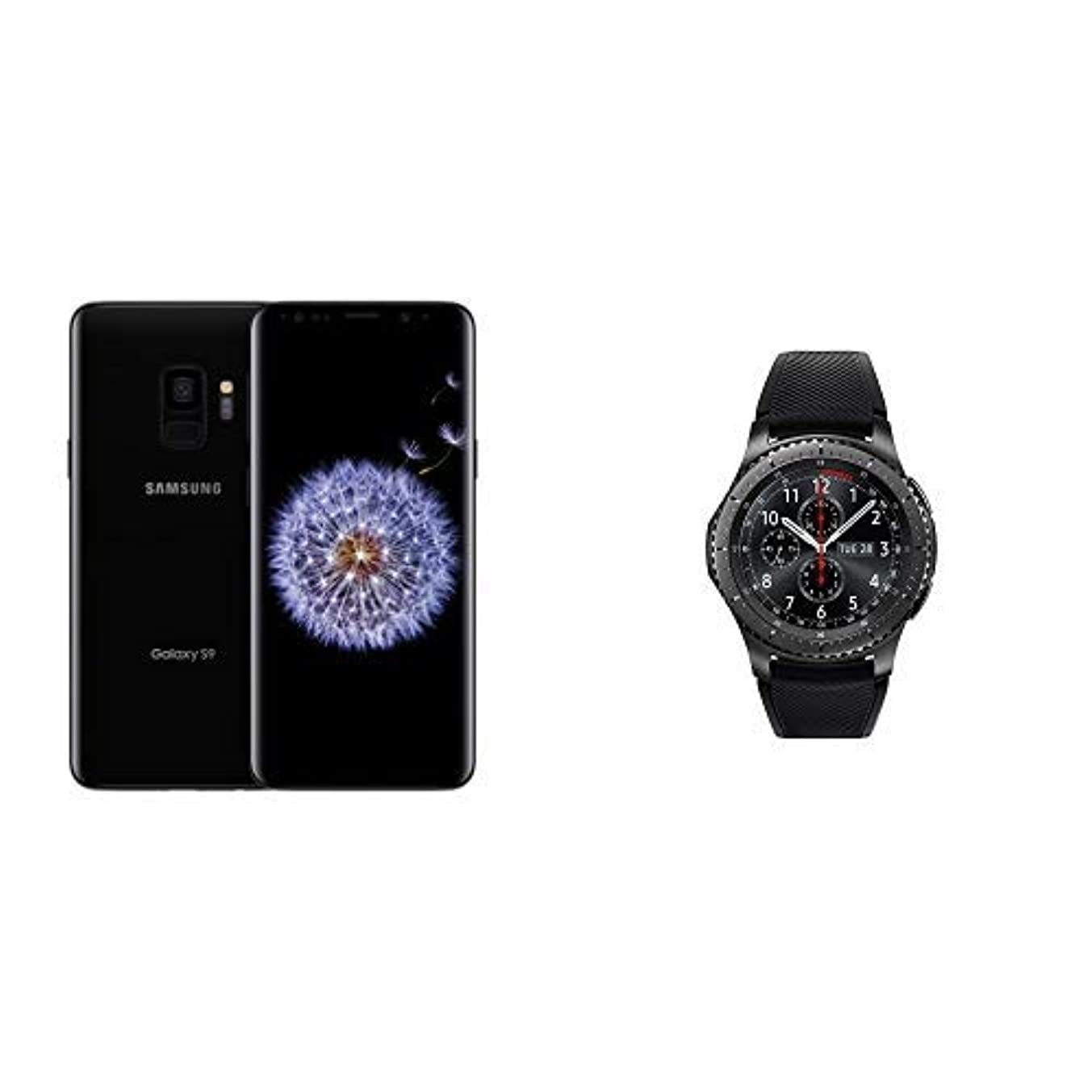 Samsung Galaxy S9 Unlocked Smartphone - 64GB - Midnight Black - US Warranty with Gear S3 Frontier Smartwatch