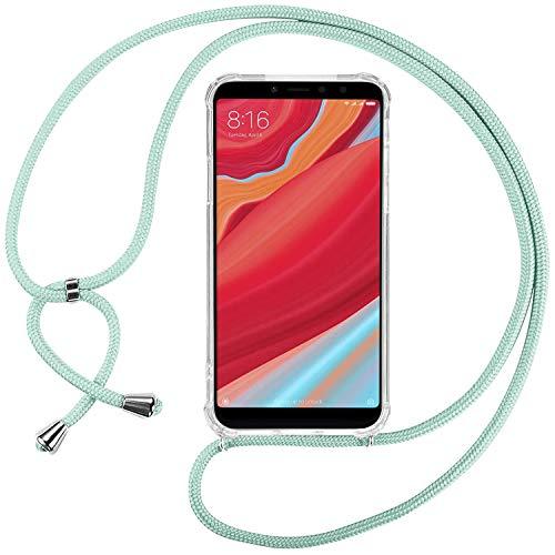 Ingen Funda con Cuerda para Xiaomi Redmi S2/Xiaomi Redmi Y2- Carcasa Transparente TPU Suave Silicona Case con Colgante-Verde