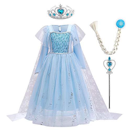 FYMNSI Disfraz de princesa Elsa de Frozen, vestido de princesa con accesorios, para Navidad, Halloween, carnaval, cosplay, para 2  10 aos Azul 04 4-5 Aos