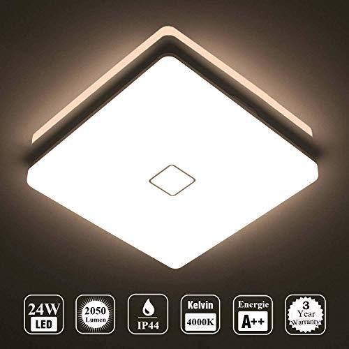 Öuesen LED 24W lampara de techo resistente al agua moderna LED luz de techo Cuadrado delgada 2050lm Blanco natural 4000K para bano Dormitorio Cocina Sala de estar Comedor Balcon Pasillo