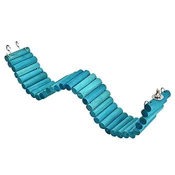 Hamster Ladder Coloré en Bois Pont Suspendu Pet Hanging Ladder Steps Escaliers Escalade Swing Échelle Escalade Flexible pour Souris Gerbilles Chinchillas Perroquets