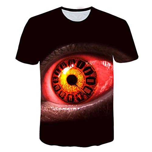 Whittie Red Eye Print Summer Tops Abstract Loose Men's Sports Short Sleeve Casual Beach T-Shirts,L