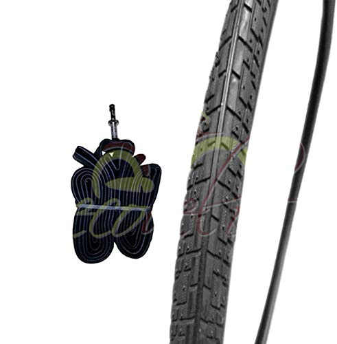 EBB28NCD 1 COPERTONE Nero + 1 Camera d'Aria per Bicicletta Bici City Bike Trekking 700 X 35 28 1 5/8 3/8 (37-622)