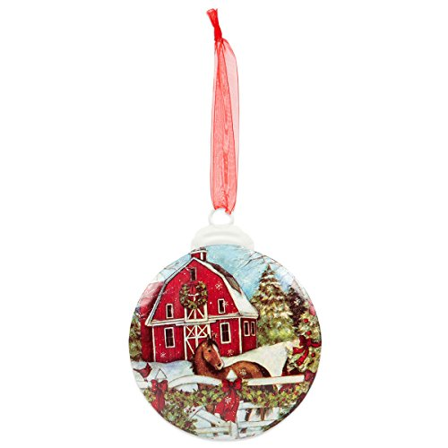 Brownlow Gifts Christmas Hand-Drawn Metal Ornament, 3' Diameter, Barn With Horse