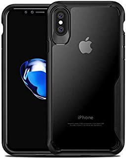 Plus Bumper Case with Clear Back Hard Panel Protective Case Cover for Apple iPhone X/Apple iPhone Xs (Black)