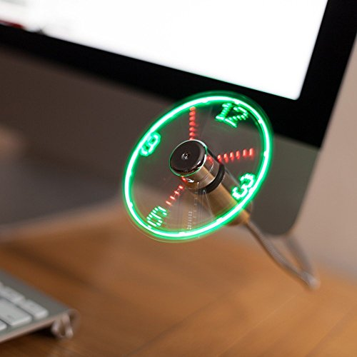 TRIXES Reloj de Escritorio y Ventilador Portátil, Flexible, USB, con Pantalla LED