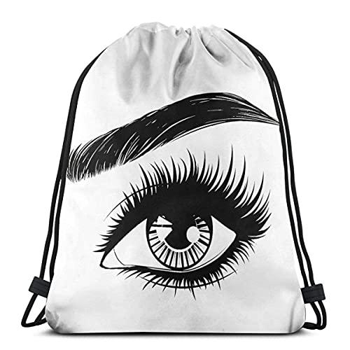 Mochila con cordón, ojos negros y pestañas, bolsa de viaje para niños, hombres y mujeres