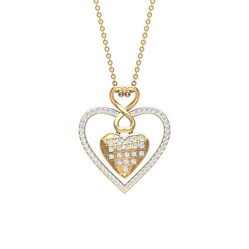 Collar de doble corazón de la infinidad, colgante de diamante HI-SI, joyería de dos tonos, collar de aniversario amarillo