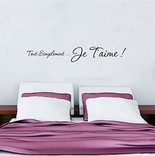 I Love You French Vinilos Decorativos Para Pared Decoración Del Hogar, Adhesivos Franceses Para Pared Decoración Para Dormitorio 140X20Cm