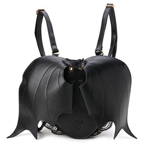 Kimruida Rucksack für Frauen Fledermaus cool dunkle Liebe Form Stil Rucksack Mädchen Mini Schule Geldbörse Reise Umhängetasche