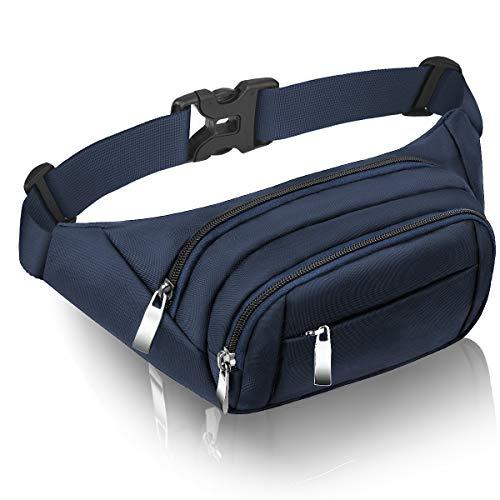CAMORF Bauchtasche Damen Groß Gürteltasche Herren 4 Reißverschluss Taschen wasserdichte Hüfttasche für iPad MAX. 7,9 & iPhone 6,6 - Bauchtasche mehrfächer für Sport Reisen Wandern Radfahren Spazieren