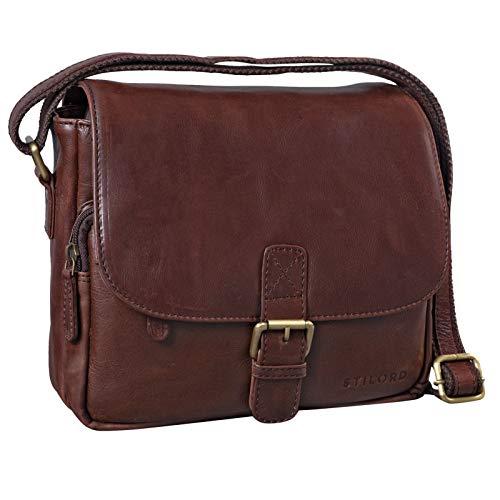 STILORD 'Lucian' Borsello uomo Borsetta donna Stile vintage in pelle Borsa piccola a tracolla in cuoio A5 per Tablet iPad da 10.1', Colore:marrone - cioccolata