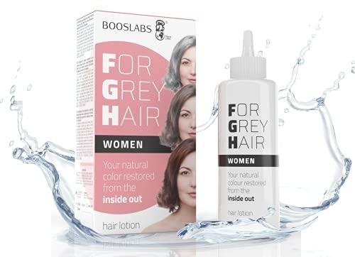 BOOS LABS For Grey Hair for Women un producto cubre canas, no es un Tinte pelo, recupere el color original de su bigote, el retoque de las raíces del cabello, una composición enzimática única