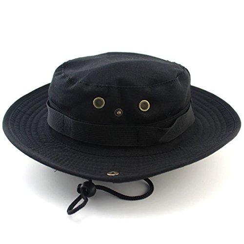 Chapeau de pêche à grand bord pour protection UV, séchage rapide, pour randonnée, camping, voyages - Unimango Large noir
