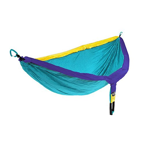 ENO, Eagles Nest Outfitters DoubleNest Lightweight Camping Hammock, 1 to 2 Person, Yellow/Teal/Purple