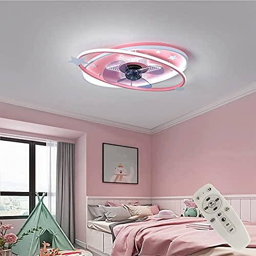 Ventilador De Techo con Luz Control Remoto Velocidades De Viento Ajustables Invisible Ventilador con Iluminación Regulable De 3 Colores con Temporizador De Ventilador,Rojo