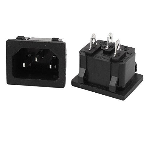 Sourcingmap® 2 STK AC 250 V, 10 A, IEC320-C14 3P Stecker am schwarzen Kunststoff Steckdose de