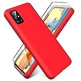 Oududianzi - Funda para Samsung Galaxy A51 5G + [2 Pack] Protector Pantalla, Carcasa de Silicona Líquida Gel Ultra Suave Funda con tapete de Microfibra Anti-Rasguño - Rojo