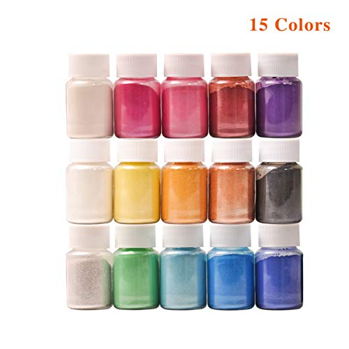Epoxy Resin Dye,Mica Powder,Resin Pigment Powder-for Slime,Soap Making,Nail Art,Epoxy Resin,Candle Making,Painting (15 Colors)