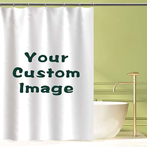 CHUN YI Professional Custom Shower Curtain, Personalized DIY Fabric Shower Curtain (72x72) with Hooks, Custom Photograph, Image, Text, Logo