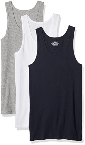 Tommy Hilfiger Men's Undershirts 3 Pack Cotton Classics A Shirts, White/Grey Heather/Navy, X Large